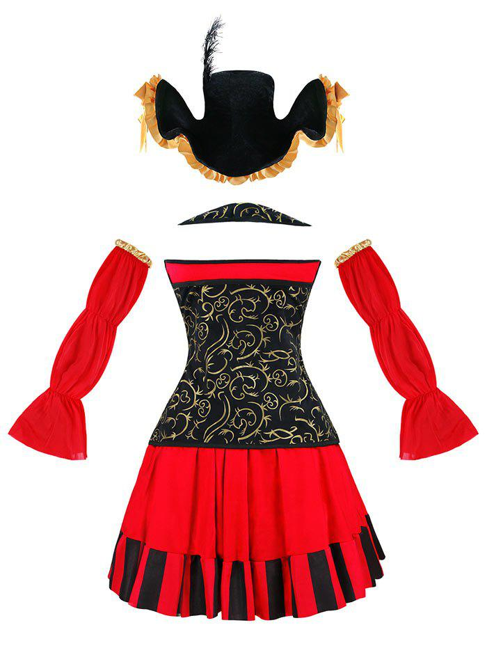 Ruffled Pirate Cosplay Costume - RED 2XL