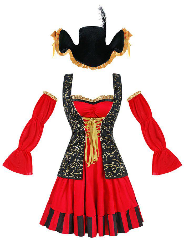 Costume de Cosplay Pirate Ruffled - Rouge 2XL