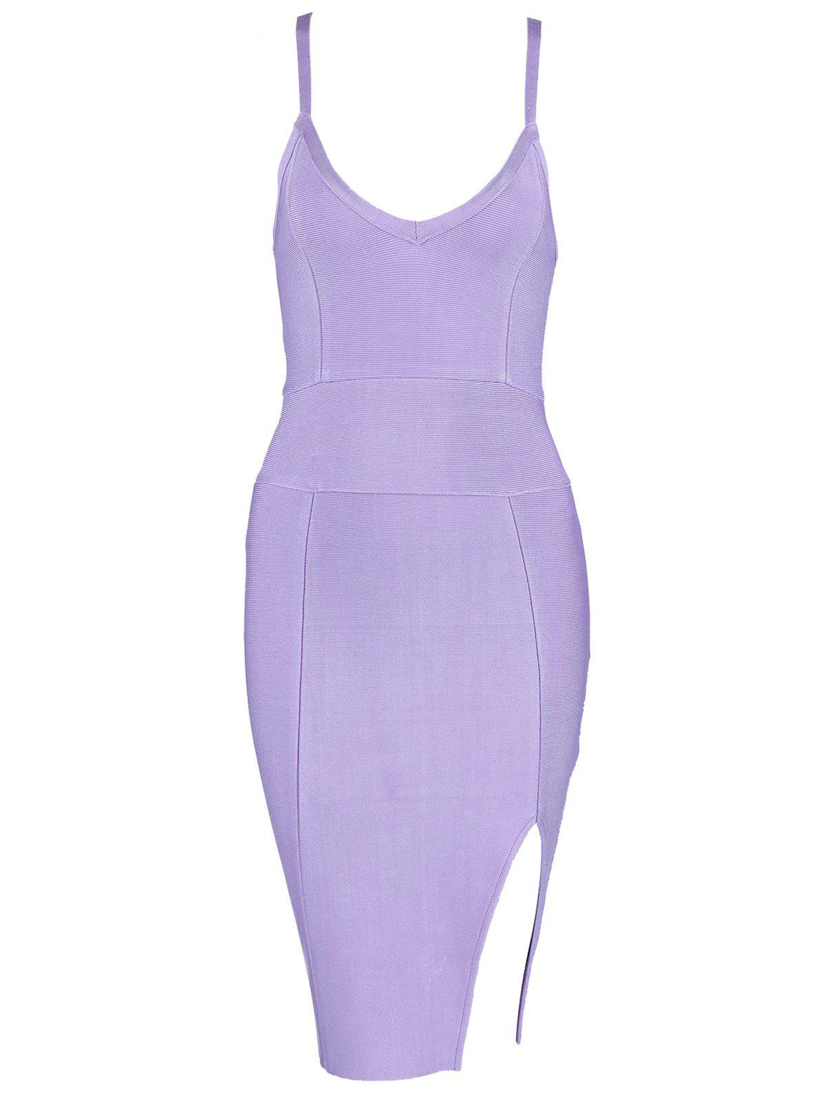 Cami Strap Slit Bandage Dress - PURPLE M
