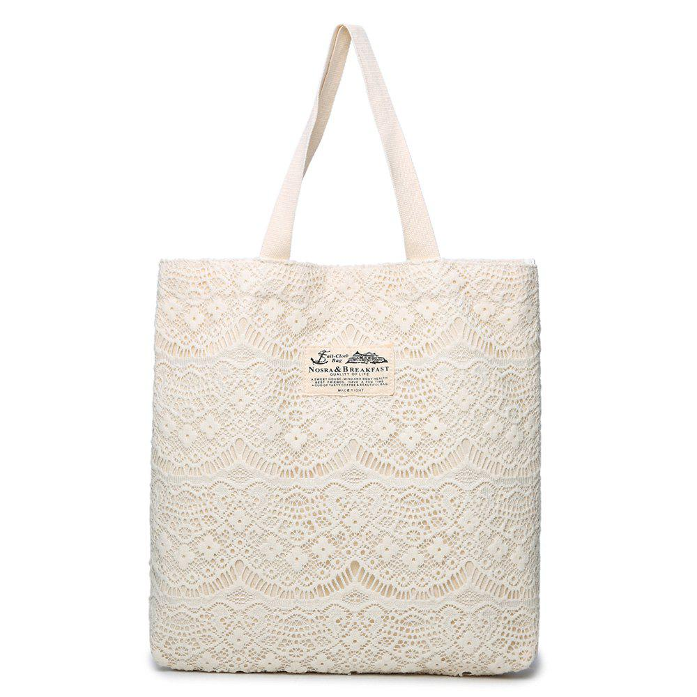Lace Embellish Shoulder Bag - WHITE