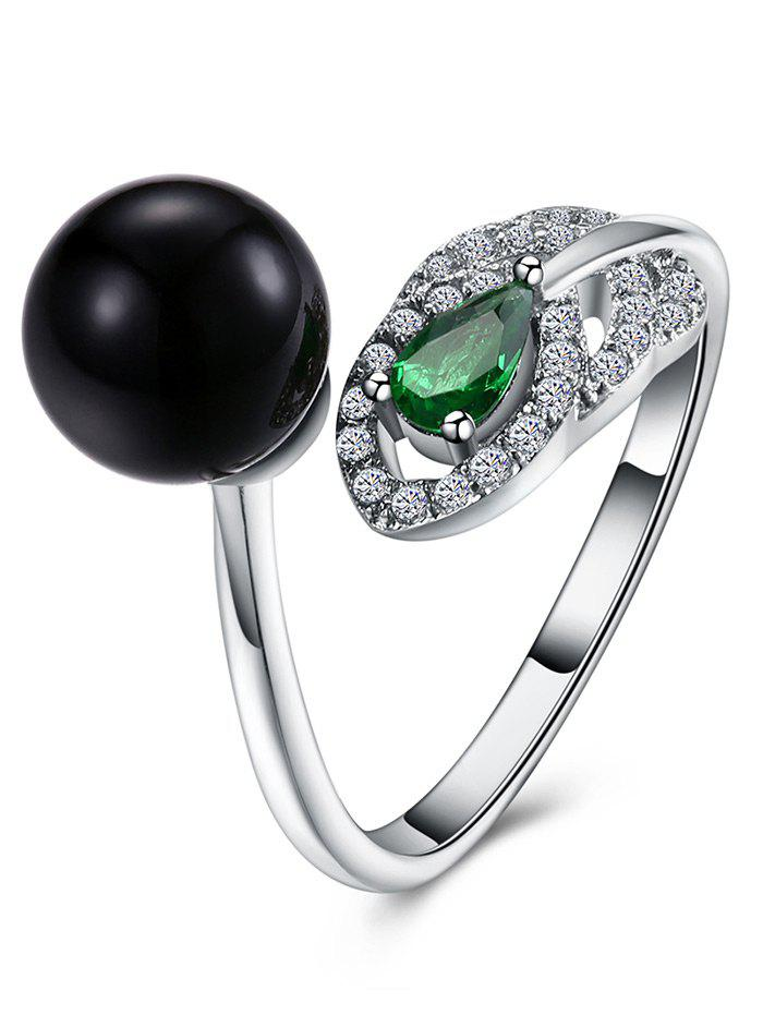 Faux Emerald Rhinestone Ball Cuff Ring - SILVER