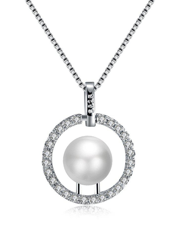 Rhinestone Faux Pearl Circle Charm Necklace - [
