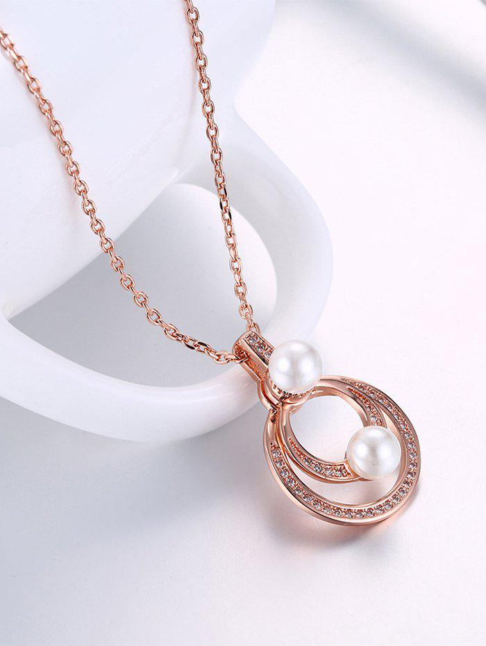 Collier Faux Pearl Doubled Circle Pendant - Or Rose