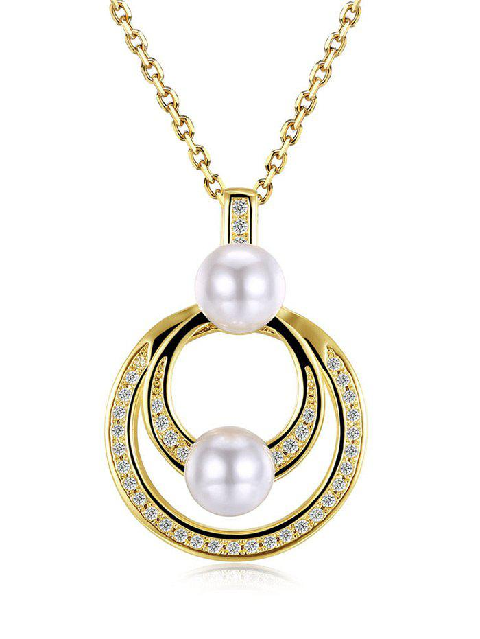 Collier Faux Pearl Doubled Circle Pendant - Or