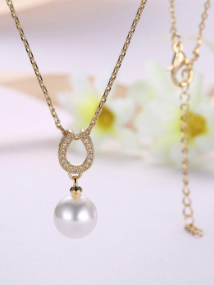 2017 faux pearl collier pendentif en fer cheval or in colliers online store best collier ras. Black Bedroom Furniture Sets. Home Design Ideas