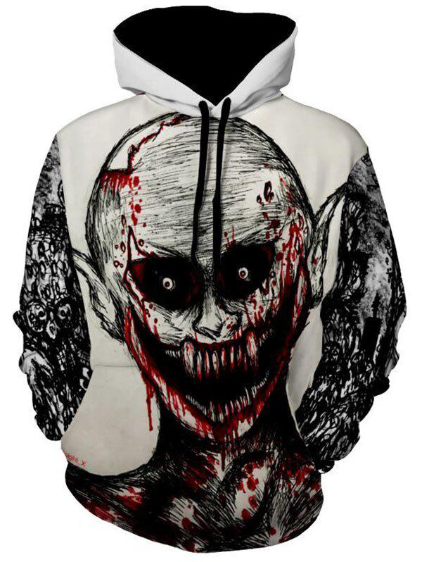Devil Print Kangaroo Pocket Halloween Hoodie - WHITE L