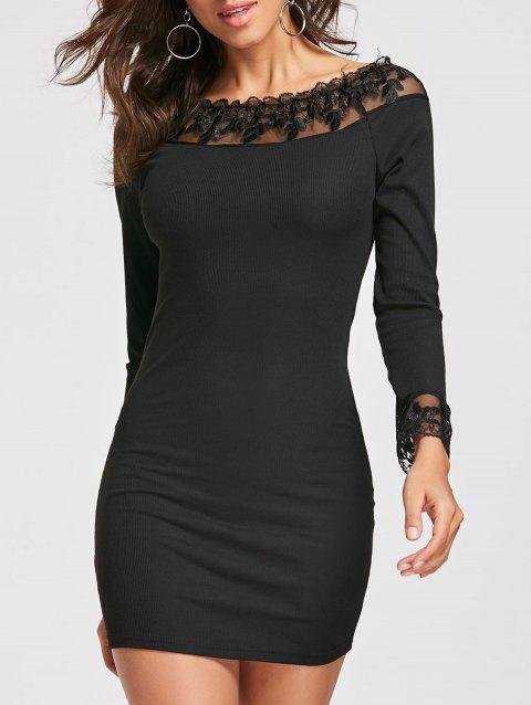 Long Sleeve Lace Mesh Insert Dress - BLACK XL