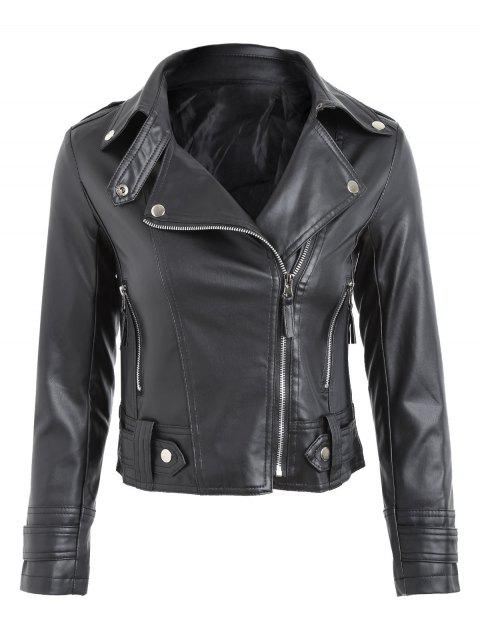 Faux Leather Zipper Fly Biker Jacket - BLACK L