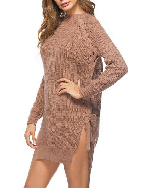 Cable Knit Lace Up Sweater Dress - LIGHT BROWN ONE SIZE
