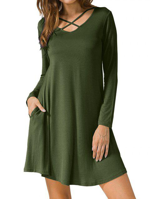 434f05bc87b LIMITED OFFER  2019 Criss Cross Long Sleeve T Shirt Dress In ARMY ...