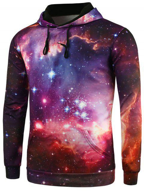 Kangaroo Pocket Drawstring Galaxy Hoodie - COLORMIX M