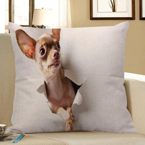 3D Through Wall Dog Printed Square Pillow Case - BEIGE W18 INCH * L18 INCH
