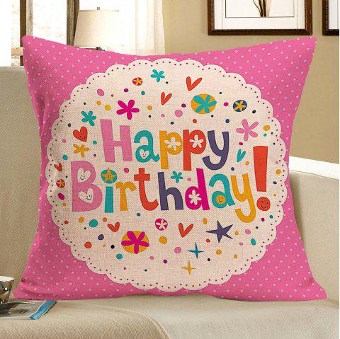 Happy Birthday Printed Throw Pillow Case - COLORFUL W18 INCH * L18 INCH