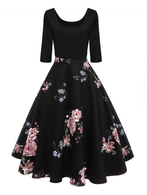 32945f80072 41% OFF  2019 Retro U Neck Floral Print Pin Up Dress In BLACK ...