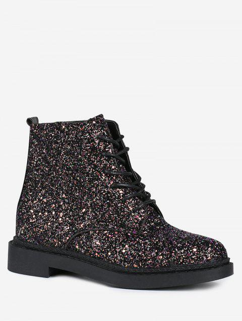 Glitter Lace Up Short Boots - BLACK 37