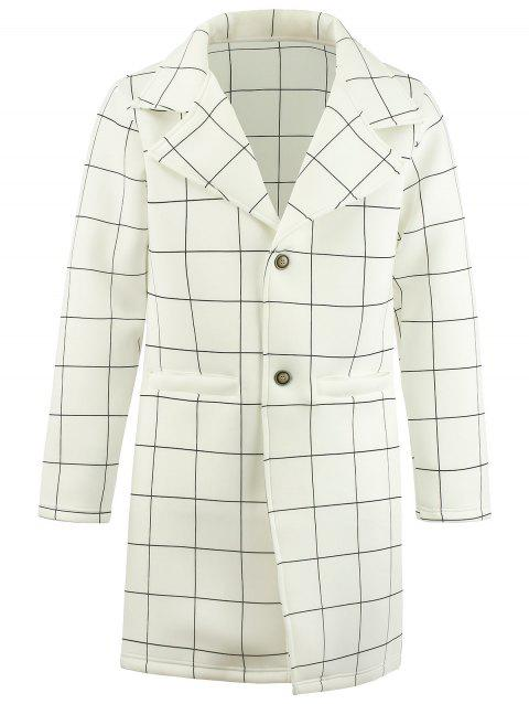 Manteau à Carreaux Poitrine Unique Long - Blanc XL