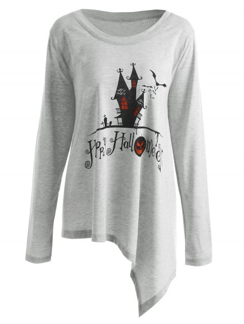 Plus Size Happy Halloween Long Asymmetric T-shirt - GRAY 2XL