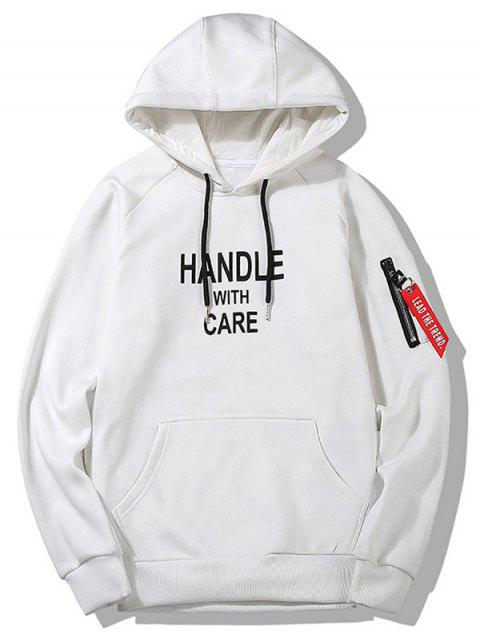 Handle With Care Graphic Flocking Hoodie - WHITE 3XL