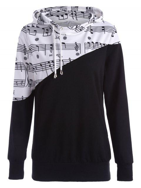 Music Note Two Tone Hoodie - BLACK S