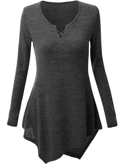 Criss Cross Longline Asymmetrical Plus Size Tee - DEEP GRAY 4XL