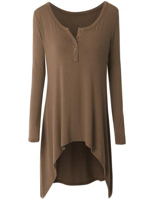 Plus Size High Low Button Embellished Tee - BROWN 4XL