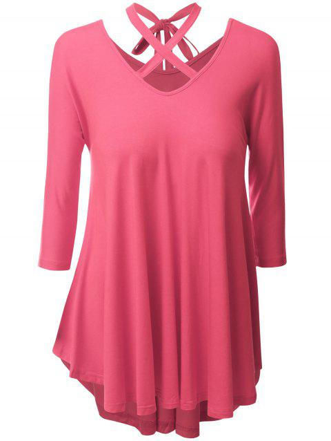 Plus Size Criss Cross High Low Tee - WATERMELON RED XL