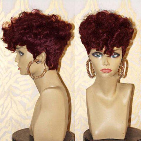 Short Side Bang Layered Shaggy Afro Curly Synthetic Wig - WINE RED