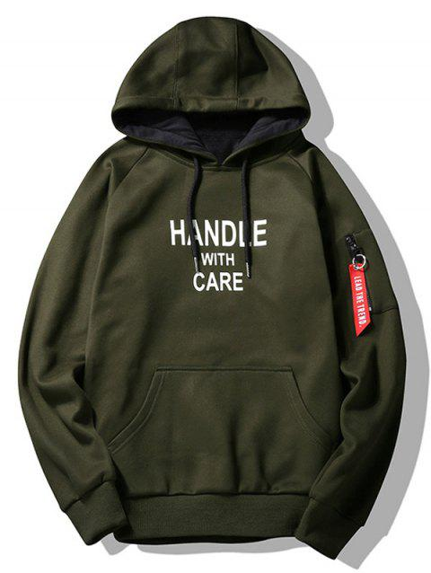 Handle With Care Graphic Flocking Hoodie - ARMY GREEN 3XL