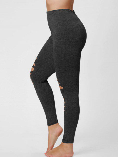Plus Size Ripped Fitted Leggings - BLACK GREY 2XL
