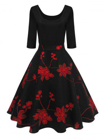 2018 Red And Black Floral Dress Online Store Best Red And Black