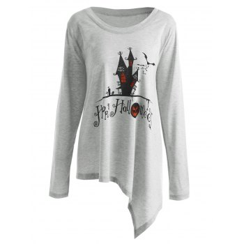 Plus Size Happy Halloween Long Asymmetric T-shirt