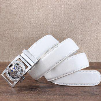 Rhinestone Alloy Auto Buckle Wolf Carving Belt - SILVER/WHITE SILVER/WHITE