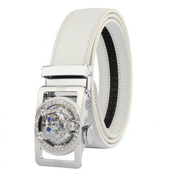 Rhinestone Alloy Auto Buckle Wolf Carving Belt - SILVER AND WHITE SILVER/WHITE