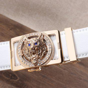 Rhinestone Alloy Auto Buckle Wolf Carving Belt - WHITE/GOLDEN 110CM