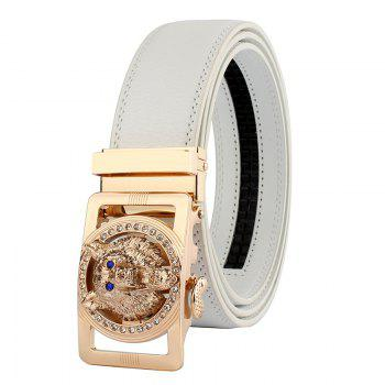 Rhinestone Alloy Auto Buckle Wolf Carving Belt - WHITE AND GOLDEN WHITE/GOLDEN