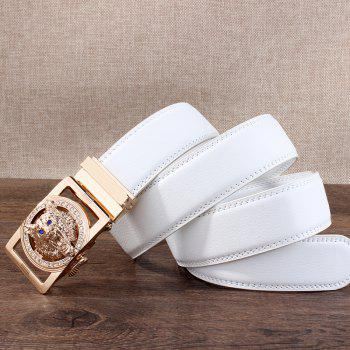 Rhinestone Alloy Auto Buckle Wolf Carving Belt - WHITE/GOLDEN WHITE/GOLDEN