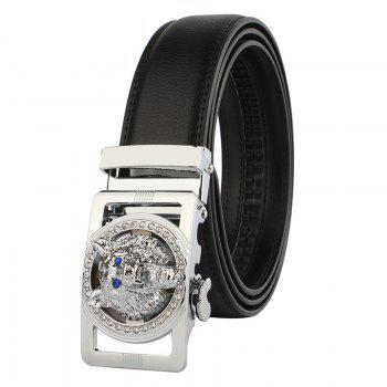 Rhinestone Alloy Auto Buckle Wolf Carving Belt - SILVER AND BLACK SILVER/BLACK