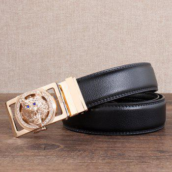 Rhinestone Alloy Auto Buckle Wolf Carving Belt - BLACK/GOLDEN 110CM