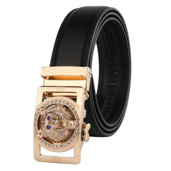 Rhinestone Alloy Auto Buckle Wolf Carving Belt - BLACK AND GOLDEN BLACK/GOLDEN