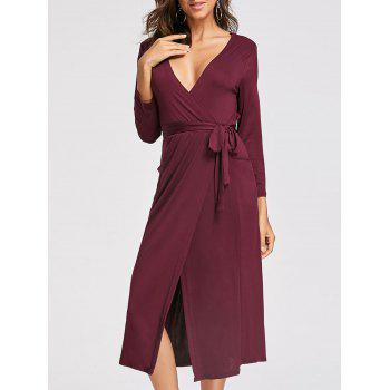 Plunging Neckline High Low Midi Dress - WINE RED XL