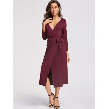 Plunging Neckline High Low Midi Dress - XL XL