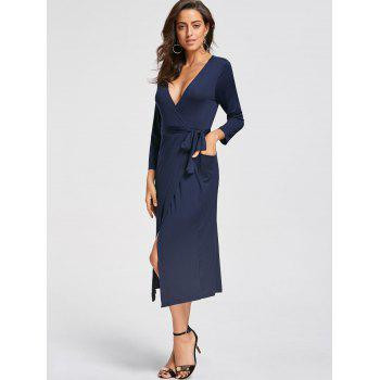 Plunging Neckline High Low Midi Dress - DEEP BLUE L