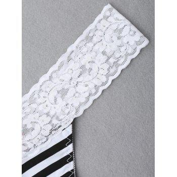 Lace Panel Striped Thong - WHITE/BLACK M
