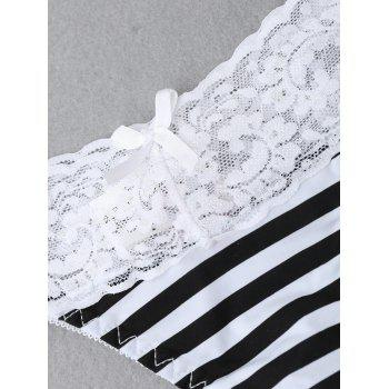 Lace Panel Striped Thong - WHITE/BLACK XL