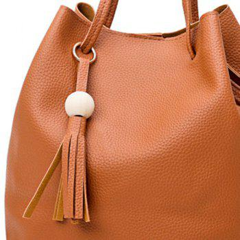 Faux Leather Tassel 4 Pieces Shoulder Bag Set -  BROWN