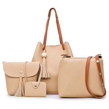 Faux Leather Tassel 4 Pieces Shoulder Bag Set - KHAKI KHAKI