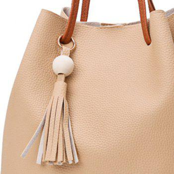Faux Leather Tassel 4 Pieces Shoulder Bag Set -  KHAKI