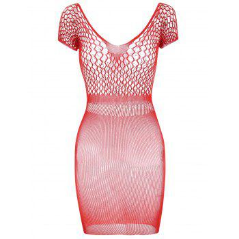 Fishnet See Through Bodycon Dress - RED RED