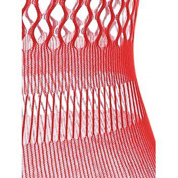 Fishnet See Through Bodycon Dress - RED ONE SIZE