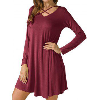 Criss Cross Long Sleeve T Shirt Dress - WINE RED S